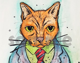 Gogh Cat || A4 Art Print || Watercolour & Ink || Cats In Clothes