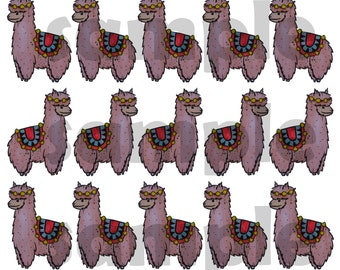 Colourful Llama A4 Print Download || Paint & Ink Pattern