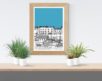Tenby Harbour -Illustration A4 Art Print, Coastal Architecture, Birthday Gift, Home Decor, Poster, Modern Art, Building, Pembrokeshire Wales