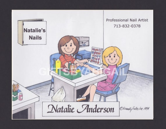 Nail Tech Personalized Cartoon Person People Pic Gift Custom Etsy