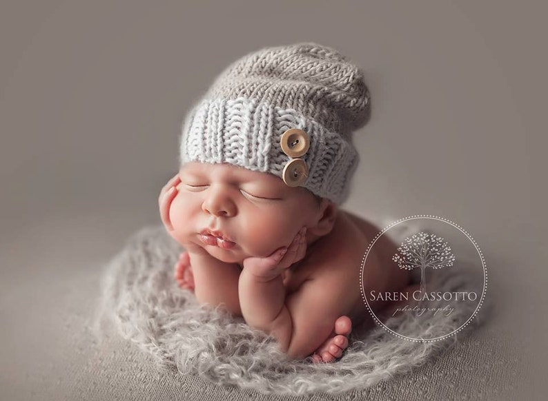 a2b33adba64 Newborn Slouch Hat with Wooden Buttons   Newborn Boy Hats