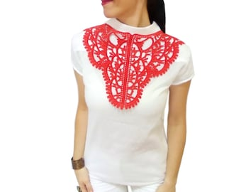 Red lace bib necklace, designer hand dyed necklace, statement christmas jewelry, beauty of the night necklace, inspirational womens gift