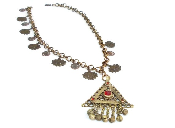 Vintage Afghan Necklace, Statement Necklace, Triba