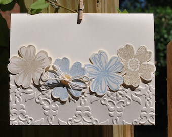 Handmade Greeting Card: hand made card, blue and beige flowers