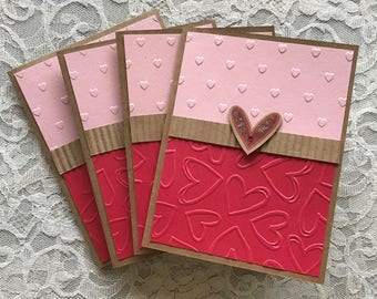 Paper handmade greeting cards etsy greeting cards handmade set of 4 heart cards love notes valentines pink and red kraft paper embossed hearts anniversary wedding m4hsunfo