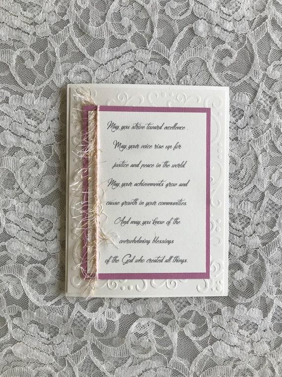 5x7 Greeting Card Handmade Feminine Graduation Card Etsy