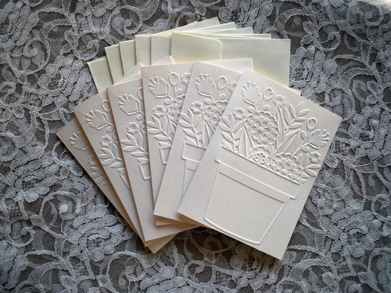 Handmade Greeting Cards Set Of 6 Embossed Flower Pot Cards Etsy