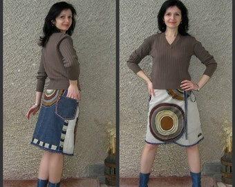 Artsy Wrap Applique Skirt, Eco-friendly Handmade Clothing by EcoClo, size M-L