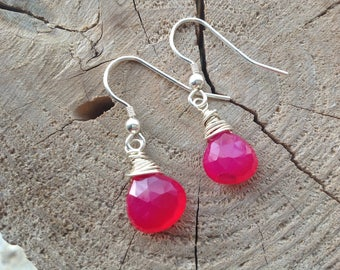 Drop Earrings, Sterling Silver, Wire wrapped, Hot Pink Chalcedony, Gemstone jewellery, October birthstone colour, Gift for Her