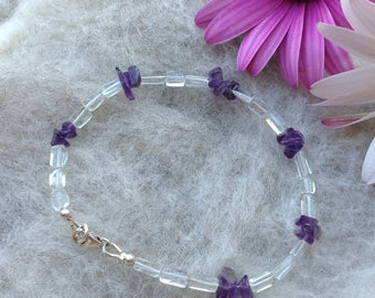 Dainty Green Amethyst/Purple Amethyst Bracelet, 925 Sterling Silver, Gift for Her, February Birthstone.