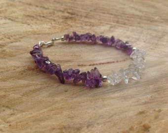 Raw Amethyst, Crystal Quartz bracelet/Sterling silver/gemstone bracelet/February birthstone/stacking bracelet/gift for her