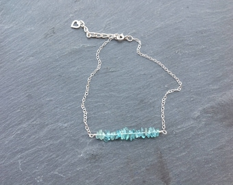 Delicate apatite anklet, sterling silver, teal ankle chain, semi precious gemstone, gift for her