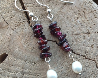 Garnet Earrings, Burgundy Earrings, Freshwater Pearl, Natural pearl, Drop Earrings, 925 Sterling Silver.