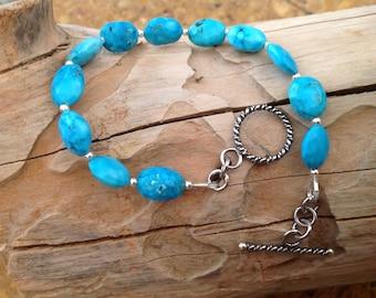 Natural Turquoise Bracelet, Blue Bracelet, 925 Sterling Silver, Bali Silver, Semi Precious Gemstone, Gemstone Jewellery, Gift for Her