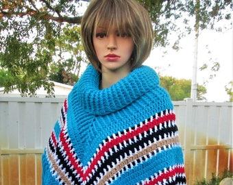 Blue Crochet Poncho Sweater, Cowl Neck Poncho Shawls, Striped Poncho Womens Poncho Cape, Boho Poncho, Bohemian Poncho, Fringe Poncho