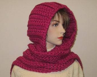 Pink Hoodie Scarf, Long Winter Scarves, Pink Chunky Scarf, Long Scarf, Long Fall Scarves, Knit Scoodie Scarves, Elizabeth B3-040