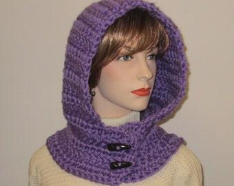 Bright Purple Crochet Hoodie, Fall Scarf, Hooded Scarf With Hood, Crochet Scarves, Chunky Knit Scarf, Oversized Scarf, Caroline B5-115