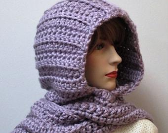 Light Lavender Purple Hooded Scarf, Chunky Crochet Scarf, Purple Knit Scarf, Warm Crochet Scarf, Large Scarf, Elizabeth B5-053