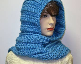 Soft Blue Long Fall Scarves, Winter Knit Scarf, Fashion Scarves, Fall Womans Scarf, Womans Hooded Scarf, Gift for Her, Elizabeth B4-055