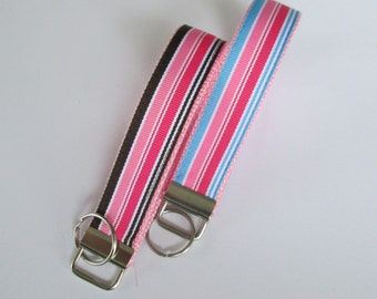 Preppy Stripes Lanyard Keychain for Women, Cool Lanyards for Women, Preppy Stripes Keychain Lanyard, Cute Wristlet Lanyard, Cute Key Fobs