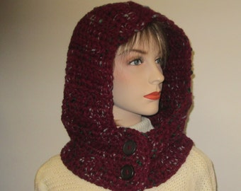 Burgundy Crochet Hoodie with Roving Colors of Gray and Dark Green, Womans Hooded Cowl, Crochet Hat, Knit Scoodie Scarves, Caroline B4-088