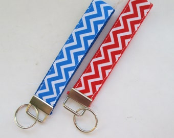 Blue Chevron Keychain for Women, Cool Lanyards for Women, Red Chevron Keychain Lanyard, Cute Wristlet Lanyard, red chevron, blue chevron