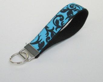 Black and Blue Damask Lanyard Keychain for Women, Cool Lanyards for Women, Damask Keychain Lanyard, Cute Wristlet Lanyard, Cute Key Fobs
