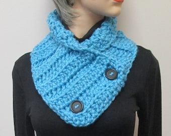 Soft Blue Chunky Scarf, Warm Crochet Scarves, Warm Fall Scarves, Winter Womans Scarves, Warm Fall Scarf, Fall Scarves, Fabiana B2-019