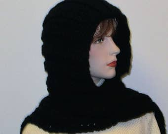 Black Crochet Hoodie, Fall Crochet Scarf, Knit Scarves, Winter Crochet Scarf, Black Neckwarmer, Womans Neckwarmer, Elizabeth B5-054