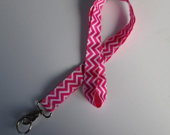 Reversible Pink Chevron Lanyard Keychains for Women, Cool Lanyards for Keys, Id Badge Holder Necklace Lanyards, Cute Lanyards for Badges