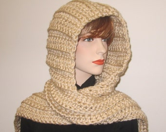 Tan Womans Hooded Scarf, Large Scarf, Long Winter Scarves, Knit Scoodie Scarf, Tan Hat, Knit Scoodie Scarves, Hooded Scarf, Elizabeth B3-036