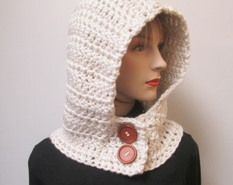 Cream Hooded Cowl, Knit Scoodie Scarves, Crochet Scoodie Scarves, Oversized Scarf, Womans Hooded Cowl, Hoodie Scarves, Caroline B4-082