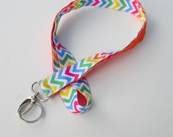 Neon Chevron Lanyard Keychains for Women, Cool Lanyards for Keys, Id Badge Holder Necklace Lanyards, Cute Lanyards for Badges