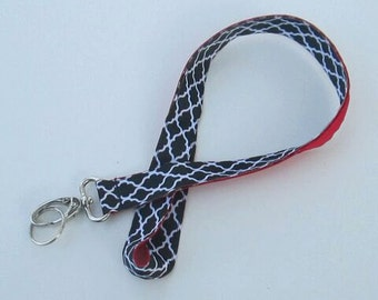 Black and White Chainlink Lanyard Keychains for Women, Cool Lanyards for Keys, Id Badge Holder Necklace Lanyards, Cute Lanyards for Badges