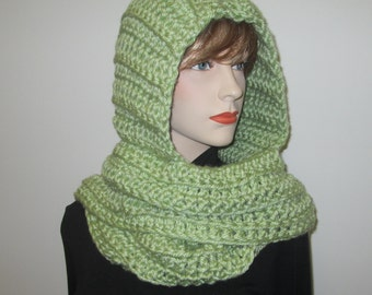 Light Spring Green Crochet Hoodie, Hooded Scarves, Long Winter Scarves, Scarf With Hood, Hoodie Scarves, Green Chunky Scarf Elizabeth B3-031