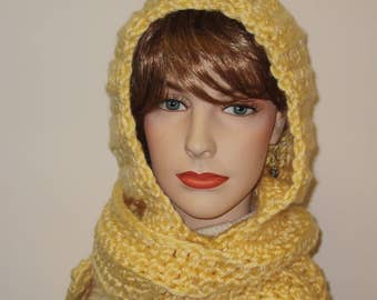 Light Yellow Hoodie Scarf, Chunky Crochet Scarves, Womans Knit Scarf, Yellow Winter Scarves, Large Scarves, Fall Scarf, Elizabeth B4-050