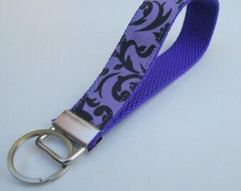 Purple Damask Lanyard Keychain for Women, Cool Lanyards for Women, Damask Keychain Lanyard, Cute Wristlet Lanyard, Cute Key Fobs