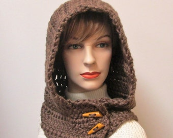 Rich Chocolate Brown Hooded Scarf, Winter Womans Scarf, Brown Hooded Cowl, Winter Scarves, Button Wrap Scarf, Caroline B4-120
