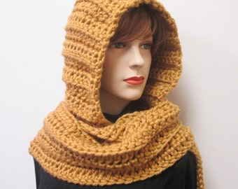Dusty Gold Hoodie Scarf, Knit Scoodie Scarf, Oversized Scarf, Long Winter Scarf, Oversized Scarves, Crochet Hat, Elizabeth B3-033