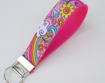 Cute Flowers and Rainbows Lanyard Keychain for Women, Cool Lanyards for Women, Flower Keychain Lanyard, Cute Wristlet Lanyard, Cute Key Fobs