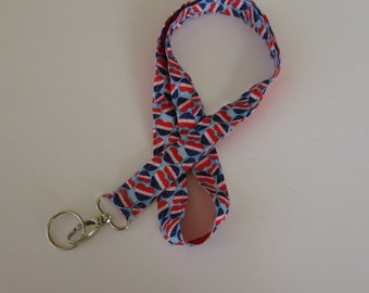 Red White and Blue Hearts Lanyard Keychains, Cool Lanyards for Keys, Id Badge Holder Necklace Lanyards, Cute Lanyards for Badges
