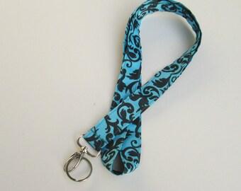 Black & Blue Damask Lanyard Keychains for Women,Cool Lanyards for Keys,Id Badge Holder Necklace Lanyards,Cute Lanyards for Badge