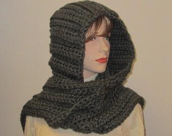 Gray Scarf With Hood, Crochet Scoodie Scarf, Hoodie Scarves, Oversized Scarf, Crochet Hat, Gray Hooded Scarf, Elizabeth