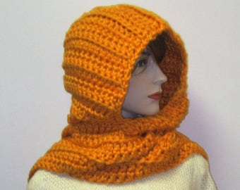 Apricot Orange Womans Hooded Scarf, Large Scarves, Fashion Scarves, Womans Knit Scarf, Oversized Scarf, Warm Winter Scarf, Elizabeth B4-052