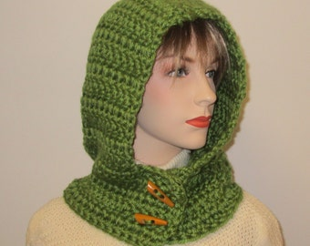 Green Womans Hooded Scarf, Knit Scoodie Scarf, Oversized Scarf, Green Hat, Hooded Scarf, Crochet Hat, Knit Scoodie Scarves, Caroline B3-081