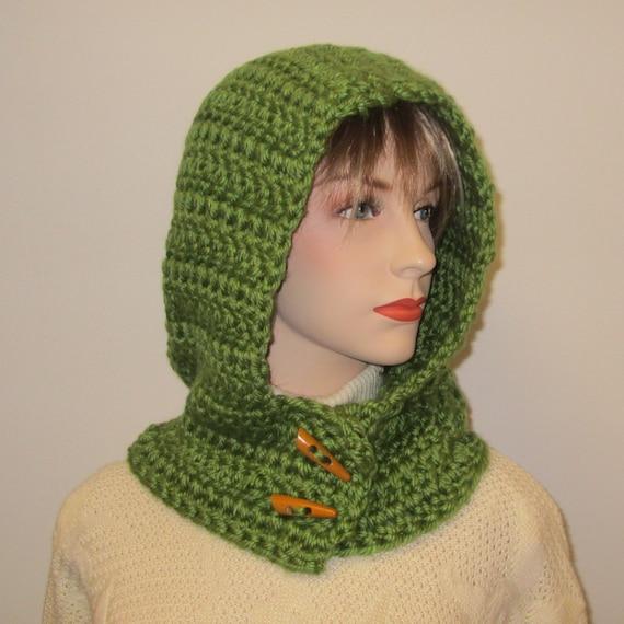 Groene Dames Hooded Sjaal Haken Met Dikke Garens Scoodie Etsy