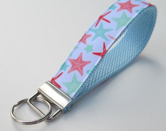 Starfish Lanyard Keychain for Women, Cool Lanyards for Women, Starfish Keychain Lanyard, Cute Wristlet Lanyard, Cute Key Fobs, Cute Keychain