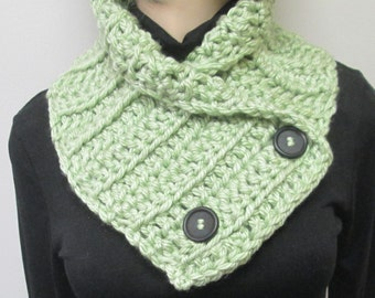 Light Spring Green Warm Fall Scarf,  Winter Chunky Scarves, Warm Winter Scarves, Fall Knit Scarf, Winter Chunky Scarf, Fabiana B2-020