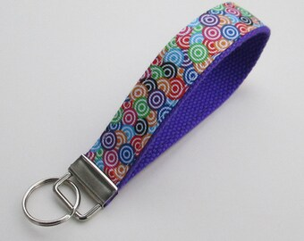 Circles Keychain for Women, Cool Lanyards for Women, Circles Keychain Lanyard, Cute Wristlet Lanyard, Cute Key Fobs, Bullseye Keychain