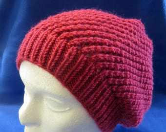 Red Knitted Slouch Hat
